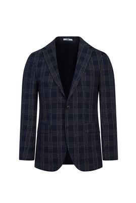Erkek Giyim - KOYU LACİVERT 54 Beden Regular Fit Ekose Ceket
