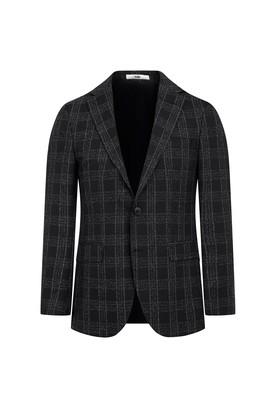 Erkek Giyim - SİYAH 62 Beden Regular Fit Ekose Ceket