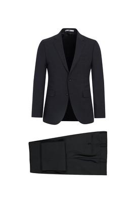Erkek Giyim - AÇIK ANTRASİT 46 Beden Slim Fit Yünlü Takım Elbise