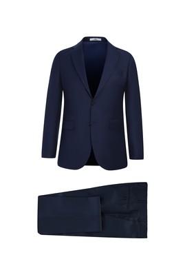 Erkek Giyim - ORTA LACİVERT 52 Beden Slim Fit Yünlü Takım Elbise
