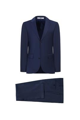 Erkek Giyim - KOYU LACİVERT 52 Beden Yünlü Klasik Takım Elbise