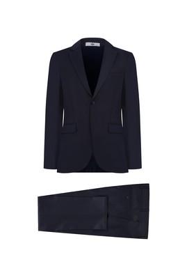 Erkek Giyim - SİYAH LACİVERT 48 Beden Desenli Klasik Takım Elbise