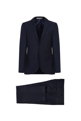 Erkek Giyim - KOYU LACİVERT 52 Beden Ekose Klasik Takım Elbise