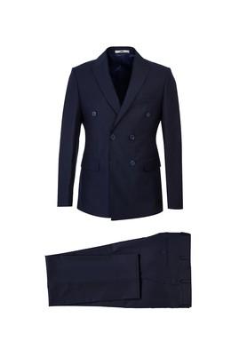 Erkek Giyim - ORTA LACİVERT 46 Beden Slim Fit Kruvaze Takım Elbise