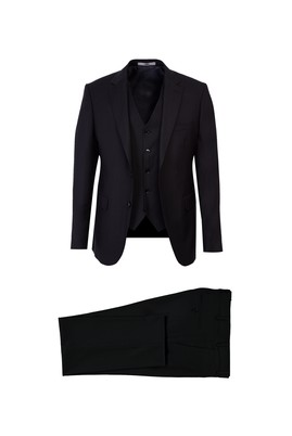 Erkek Giyim - SİYAH 52 Beden Slim Fit Yelekli Takım Elbise