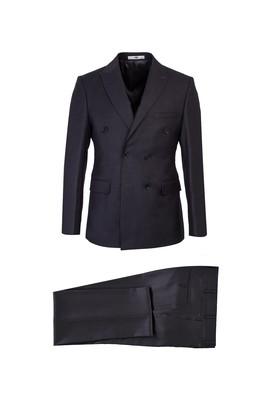 Erkek Giyim - KOYU FÜME 50 Beden Slim Fit Kruvaze Takım Elbise