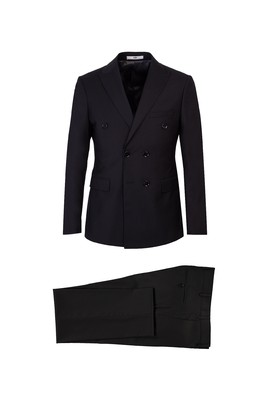 Erkek Giyim - SİYAH 50 Beden Slim Fit Kruvaze Takım Elbise