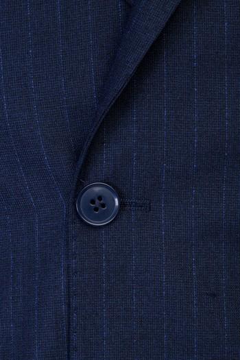 Erkek Giyim - Slim Fit Çizgili Kruvaze Takım Elbise