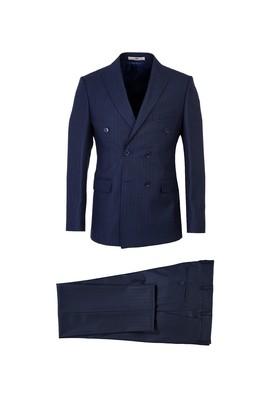 Erkek Giyim - ORTA LACİVERT 48 Beden Slim Fit Çizgili Kruvaze Takım Elbise