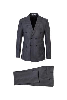 Erkek Giyim - ORTA GRİ 52 Beden Slim Fit Çizgili Kruvaze Takım Elbise