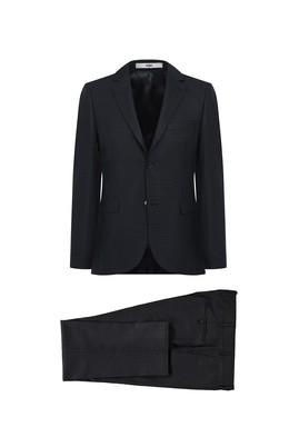 Erkek Giyim - KOYU YEŞİL 48 Beden Desenli Slim Fit Takım Elbise