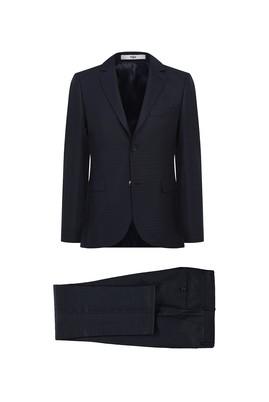 Erkek Giyim - KOYU ANTRASİT 52 Beden Desenli Klasik Takım Elbise