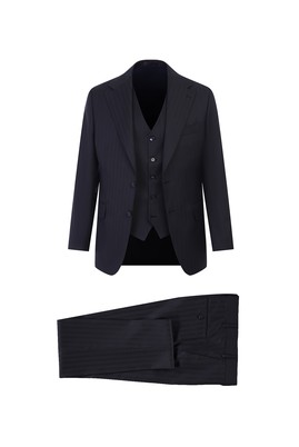 Erkek Giyim - SİYAH 50 Beden Regular Fit Yelekli Çizgili Yün Takım Elbise