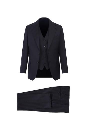 Erkek Giyim - Regular Fit Yelekli Çizgili Yün Takım Elbise