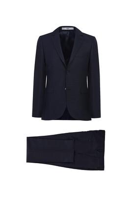 Erkek Giyim - KOYU LACİVERT 48 Beden Desenli Slim Fit Takım Elbise