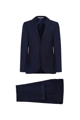 Erkek Giyim - ORTA LACİVERT 50 Beden Ekose Klasik Takım Elbise