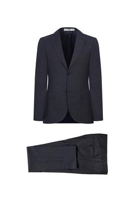 Erkek Giyim - KOYU ANTRASİT 56 Beden Ekose Klasik Takım Elbise