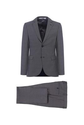 Erkek Giyim - AÇIK GRİ 48 Beden Desenli Slim Fit Takım Elbise