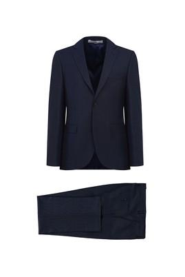 Erkek Giyim - KOYU LACİVERT 56 Beden Desenli Klasik Takım Elbise
