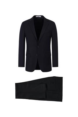 Erkek Giyim - KOYU ANTRASİT 50 Beden Slim Fit Çizgili Takım Elbise
