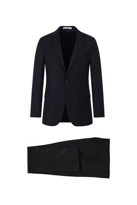 Erkek Giyim - SİYAH 54 Beden Çizgili Klasik Takım Elbise