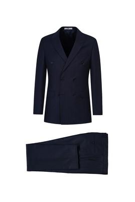 Erkek Giyim - KOYU LACİVERT 56 Beden Çizgili Klasik Kruvaze Takım Elbise