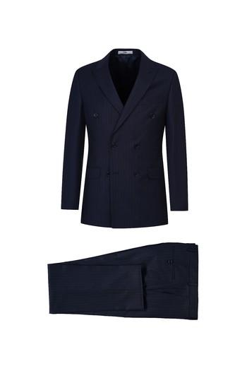 Erkek Giyim - Regular Fit Çizgili Kruvaze Takım Elbise