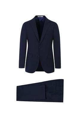 Erkek Giyim - KOYU LACİVERT 58 Beden Yünlü Klasik Takım Elbise