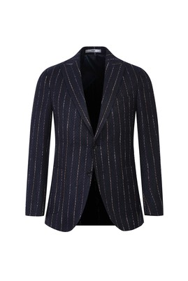 Erkek Giyim - ORTA HAKİ 54 Beden Klasik Çizgili Desenli Ceket