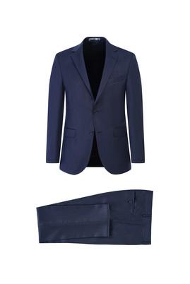 Erkek Giyim - AÇIK LACİVERT 44 Beden Kuşgözü Slim Fit Takım Elbise