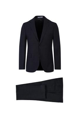 Erkek Giyim - KOYU FÜME 44 Beden Kareli Slim Fit Takım Elbise