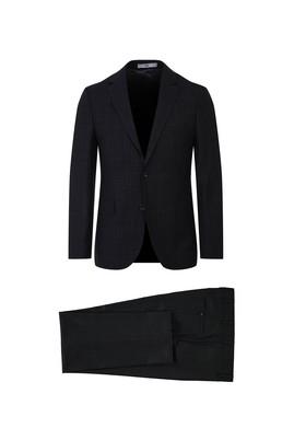 Erkek Giyim - KOYU MAVİ 56 Beden Regular Fit Kareli Takım Elbise