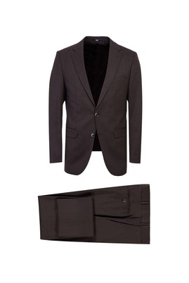 Erkek Giyim - KAHVE 48 Beden Yünlü Klasik Takım Elbise