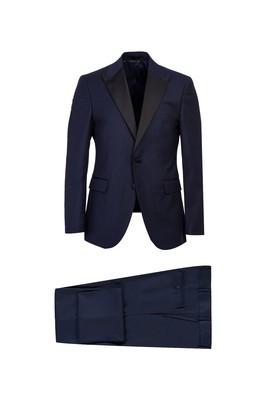 Erkek Giyim - LACİVERT 56 Beden Sivri Yaka Slim Fit Smokin & Damatlık