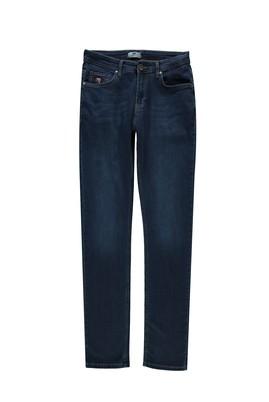Erkek Giyim - KOYU MAVİ 50 Beden Slim Fit Denim Pantolon