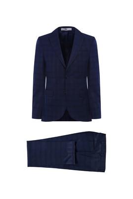 Erkek Giyim - KOYU LACİVERT 50 Beden Ekose Klasik Takım Elbise