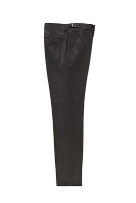 Erkek Giyim - ORTA KAHVE 52 Beden Slim Fit Tokalı Pileli Klasik Pantolon
