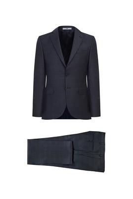 Erkek Giyim - ORTA FÜME 54 Beden Ekose Klasik Takım Elbise