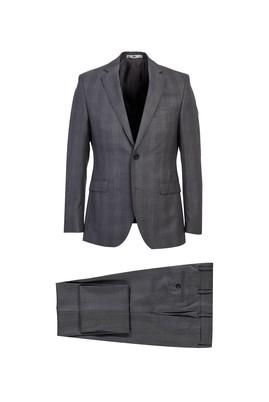 Erkek Giyim - ORTA FÜME 50 Beden Yünlü Ekose Slim Fit Takım Elbise
