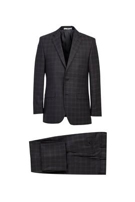Erkek Giyim - ANTRASİT 54 Beden Regular Fit Yünlü Ekose Takım Elbise