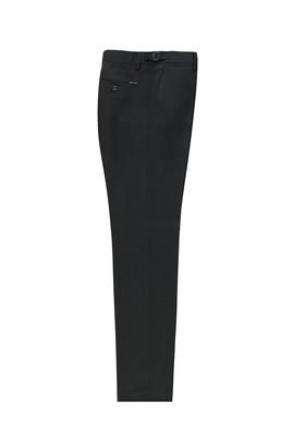 Erkek Giyim - SİYAH 58 Beden Slim Fit Tokalı Pileli Klasik Pantolon