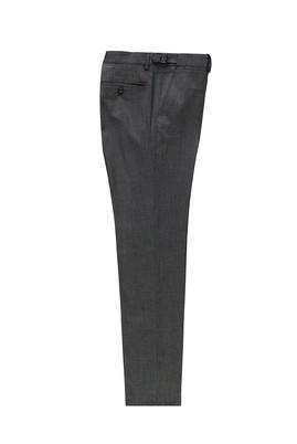 Erkek Giyim - ORTA FÜME 50 Beden Slim Fit Tokalı Pileli Klasik Pantolon
