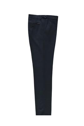 Erkek Giyim - KOYU LACİVERT 48 Beden Slim Fit Tokalı Pileli Klasik Pantolon