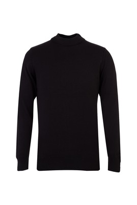 Erkek Giyim - Siyah S Beden Bato Yaka Regular Fit Triko Kazak
