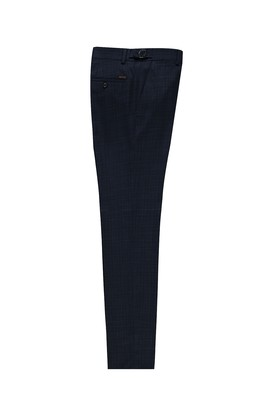 Erkek Giyim - KOYU LACİVERT 50 Beden Slim Fit Tokalı Pileli Kuşgözü Klasik Pantolon