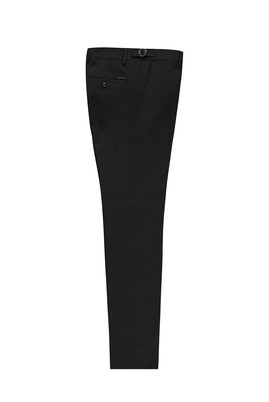 Erkek Giyim - SİYAH 54 Beden Slim Fit Tokalı Pileli Klasik Pantolon