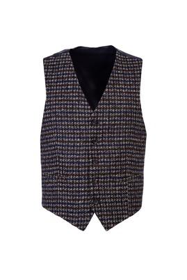 Erkek Giyim - KOYU KAHVE 50 Beden Desenli Klasik Yelek