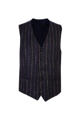 Erkek Giyim - ORTA HAKİ 52 Beden Desenli Klasik Yelek
