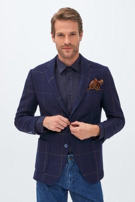 Erkek Giyim - KOYU LACİVERT 50 Beden Yünlü Klasik Desenli Ceket