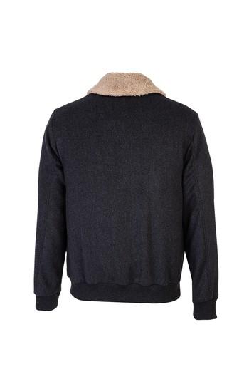 Erkek Giyim - Kürk Yaka Yünlü Mont